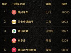 最新微信小程序榜单Top100:排名第一竟然是它