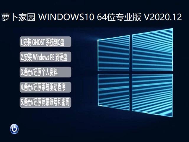 萝卜家园 WINDOWS10 64位专业版 V2020.12